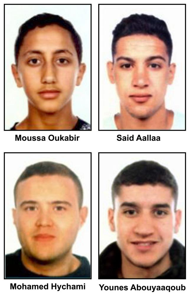 The alleged terrorists related to attacks in Spain. A handout photo made available by the Spanish police shows (left to right, top to bottom) Moussa Oukabir, Said Aallaa, Mohamed Hychami and Younes Abauyaaqoub.