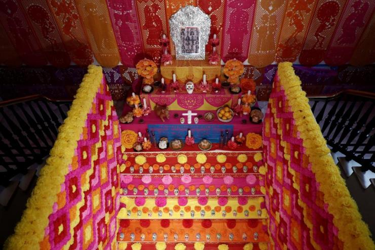A general view of the Altar de Muertos (lit. 'The Altar of the Dead') at the main stairs of the headquarters of the House of Mexico in Madrid, Spain.