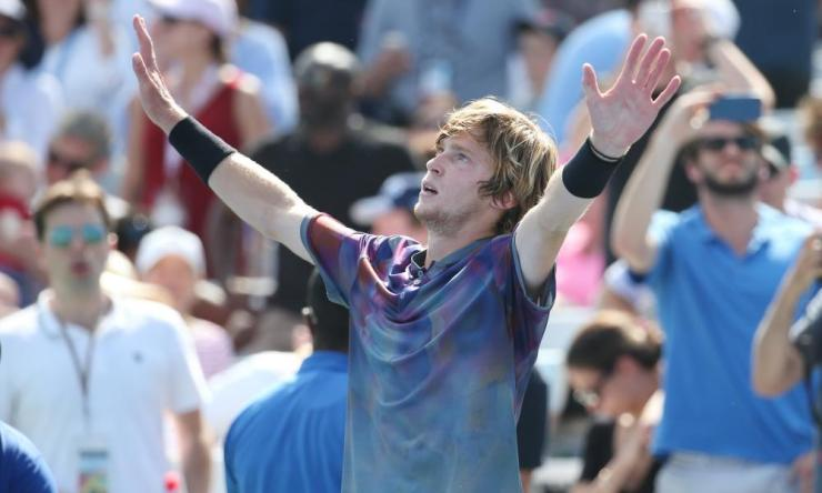 Rublev celebrates after match point against Goffin.
