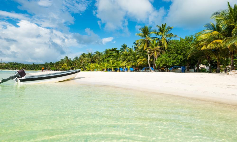 Providencia island beach and boat