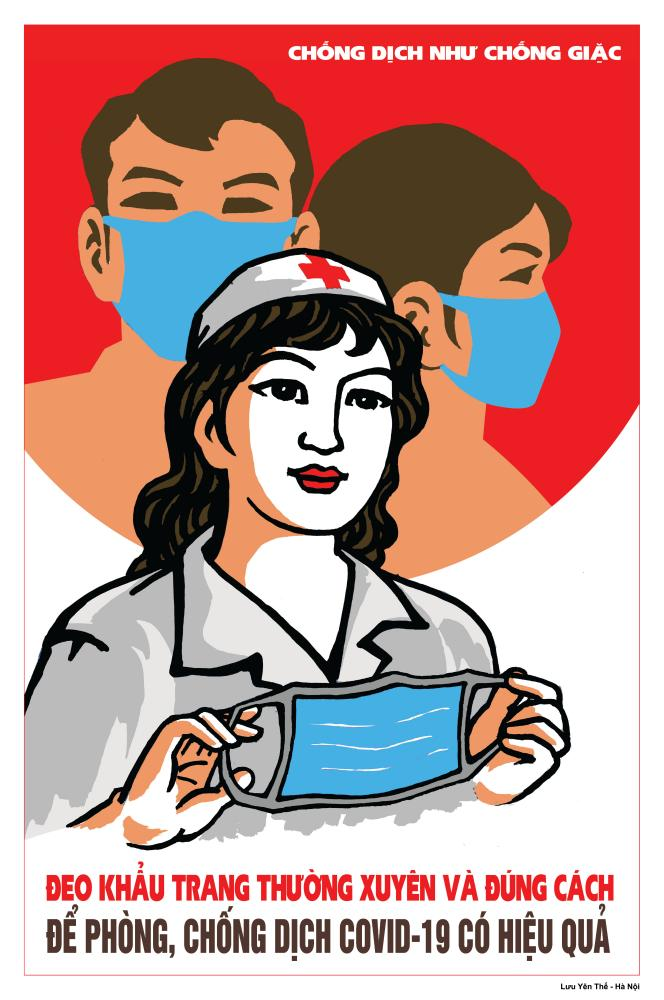 73-year-old artists Luu Yen The designed this propaganda poster, which calls on people to wear a mask to stem the spread of Covid-19.