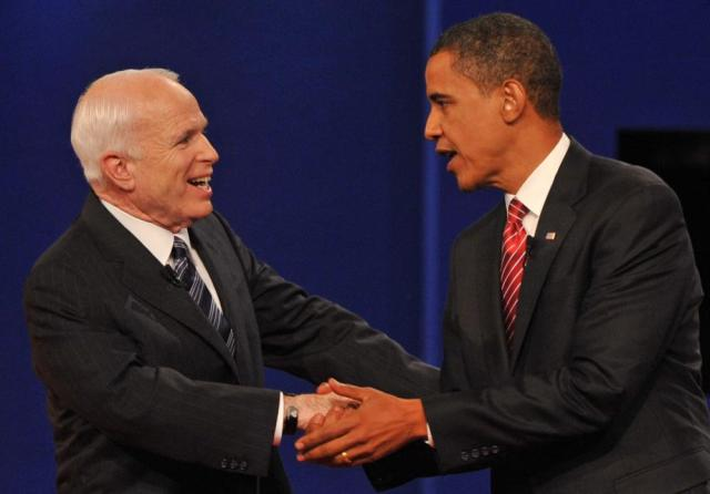 McCain and Barack Obama greet each other at the end of their third and final presidential debate in Hempstead, New York in 2008