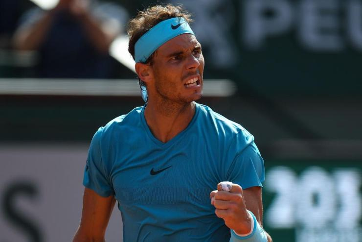Nadal reacts during the first set.