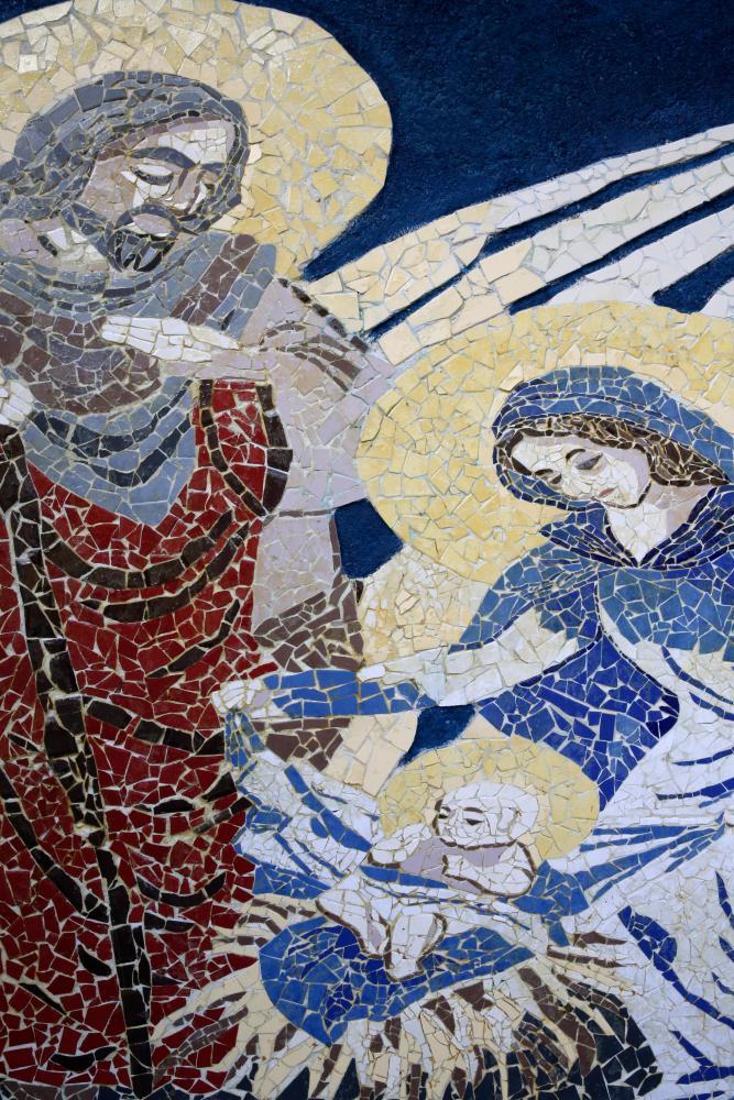 A mosaic of Christ's birth in Bethlehem.