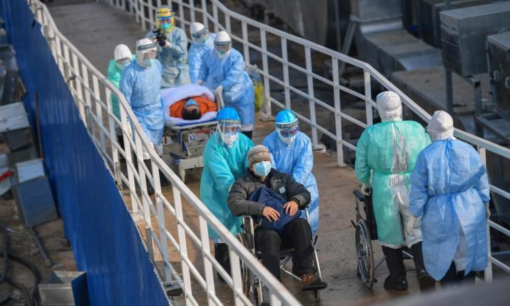 Patients transferred to Huoshenshan hospital in Wuhan
