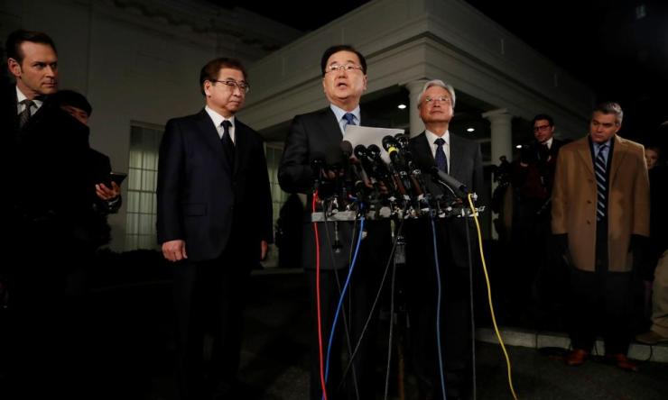 Chung Eui-Yong, South Korea's national security adviser, made the announcement outside the White House on Thursday.