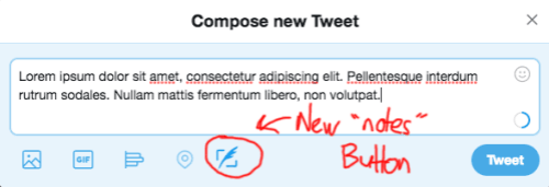 "A mockup of how a ""notes"" attachment on Twitter might look"