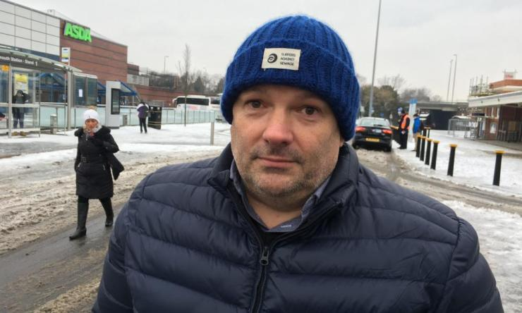 Philip Brown who endured more than 15 hours on a train with 50 people on board which became stuck overnight in the snow.