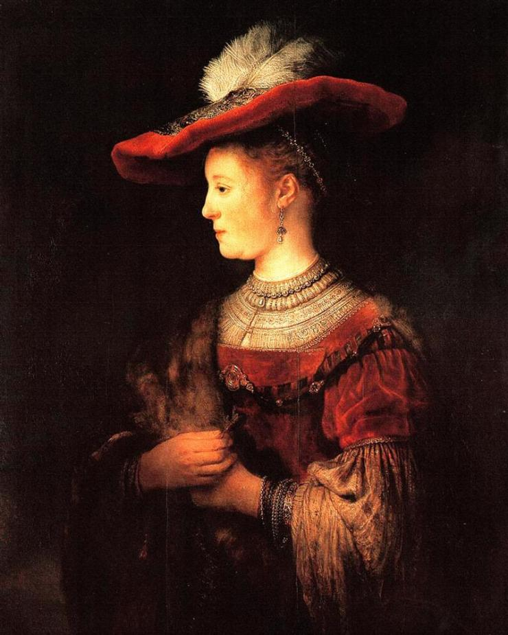 Half-length Figure of Saskia in a Red Hat. 1642.