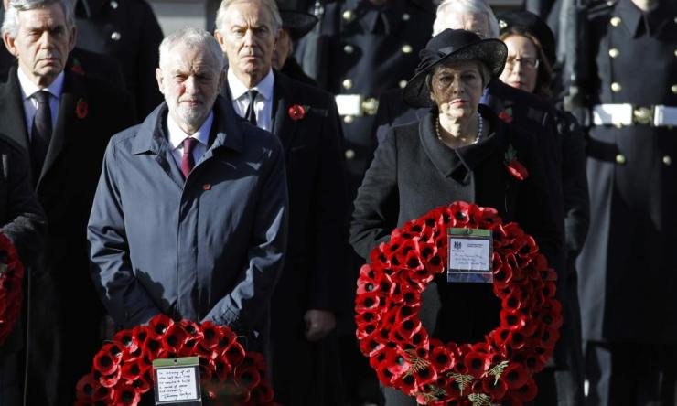 Labour Party Leader Jeremy Corbyn and Prime Minister Theresa may at the Cenotaph along with other political leaders.