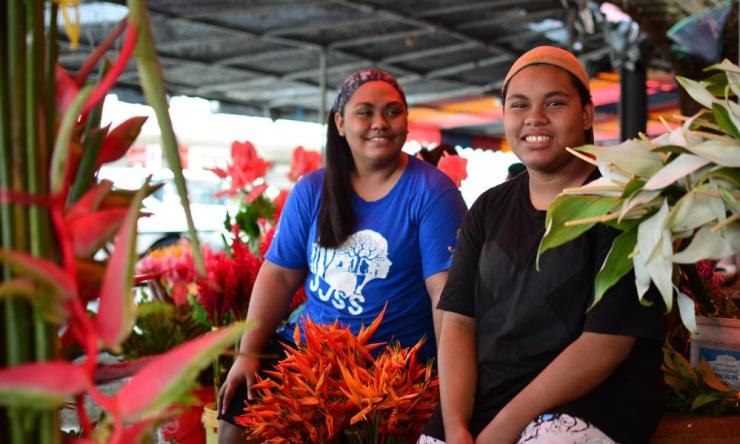 Climate Change activist AnnMary Raduva (left) and her sister Faith Lagilagi in Suva, Fiji.