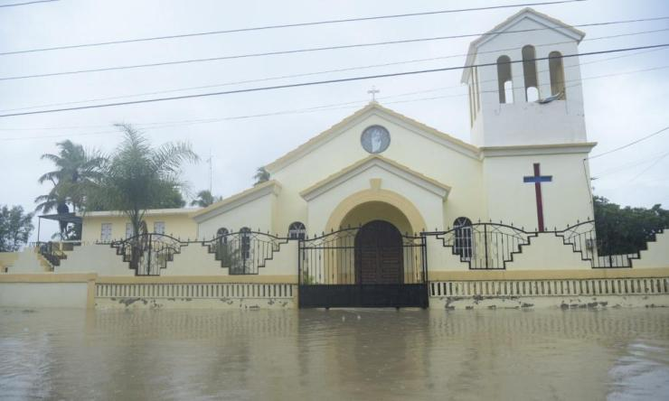 View of a flooded church in Villa Vasquez, Dominican Republi.
