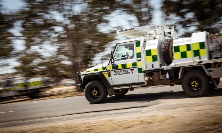 Department of Environment, Land, Water and Planning crews leave their base in Bairnsdale, Victoria to head towards the bushfires raging across East Gippsland