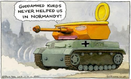 Here's Guardian cartoonist Steve Bell on Donald Trump's explanation for why he was abandoning the United States's Kurdish military allies in north-eastern Syria
