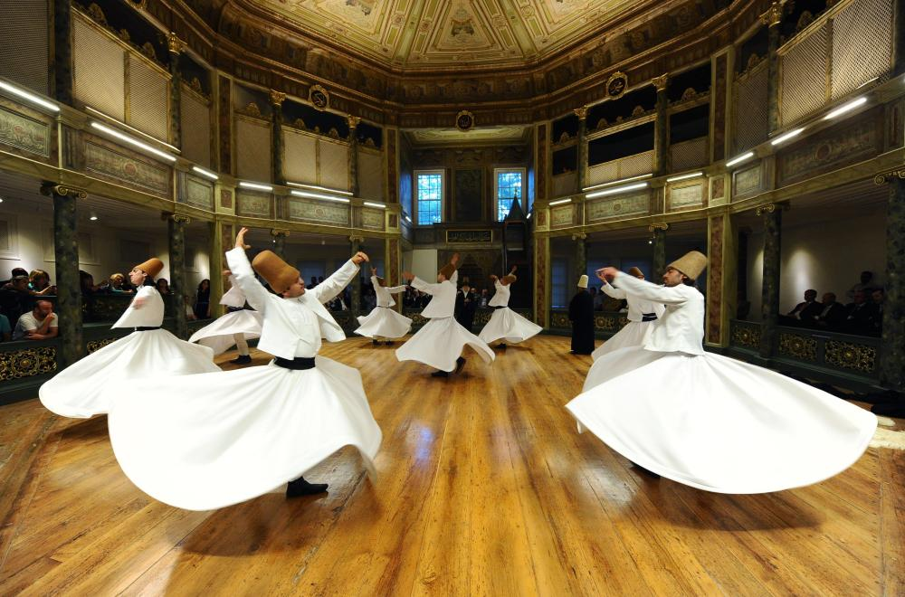 A Sufi whirling performance of the Mevlevi order, founded by Rumi.