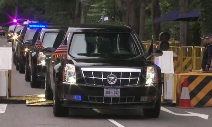 Donald Trump's motorcade sets off for the summit with Kim Jong-un in Singapore