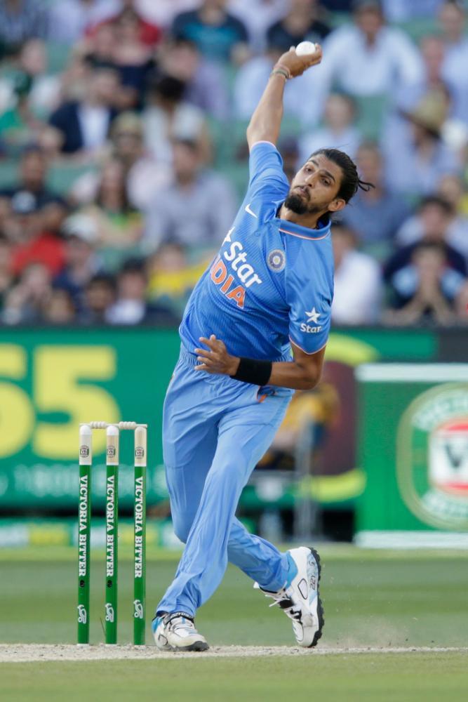 Ishant Sharma fires one down.