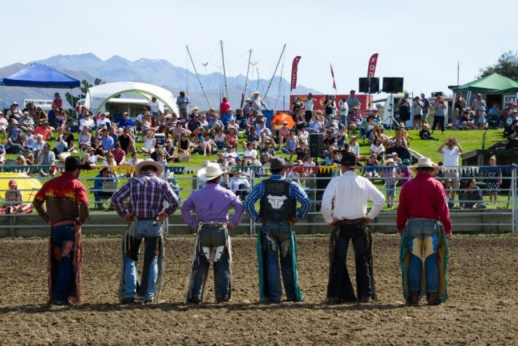 The rodeo national finalists face the crowd.
