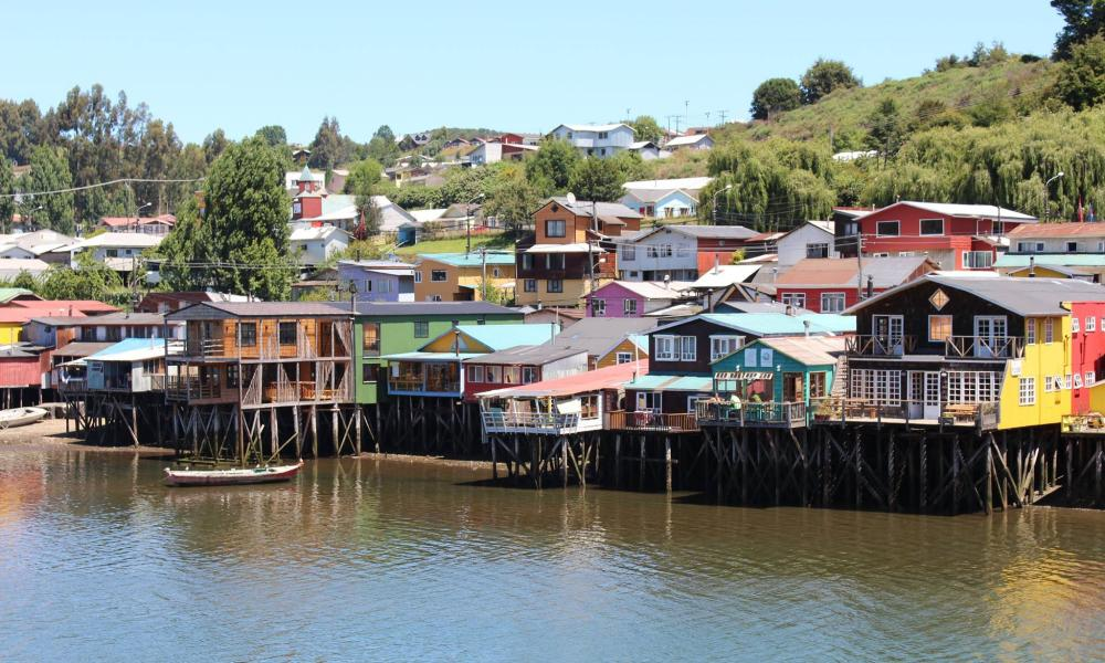Properties on stilts on Chiloé Island, Chile.