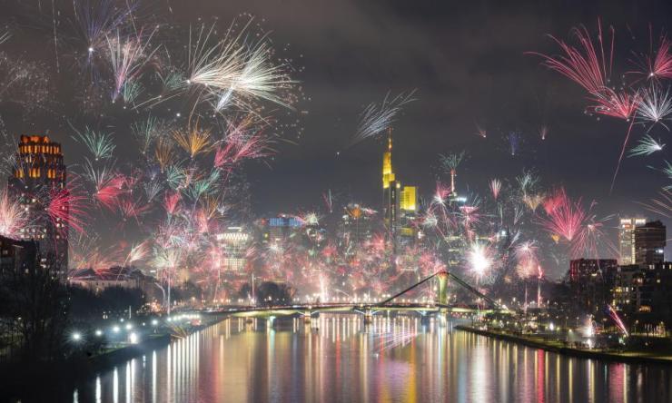 Fireworks light the sky during celebrations in Frankfurt.