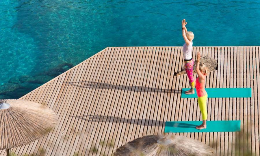 Yoga time at Daios Cove