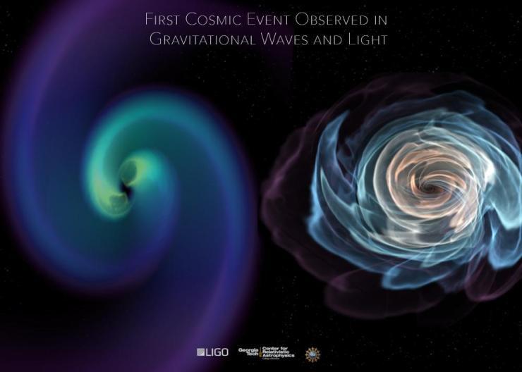Neutron star merger seen in gravity and matter