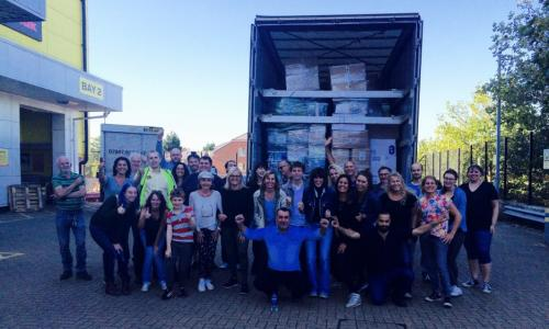 The first Help Refugees aid lorry arrives last September.