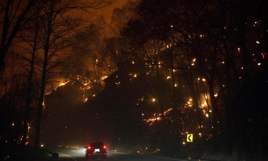 Wildfires blaze in Tennessee's Gatinburg.