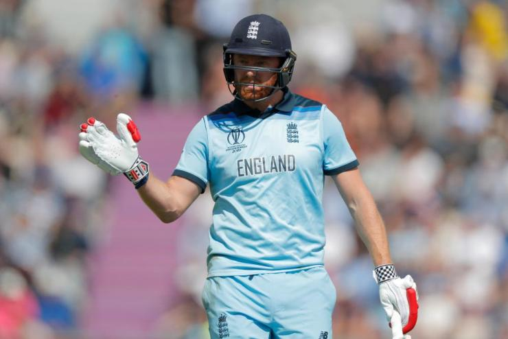England's Jonny Bairstow waves as he leaves the field after getting out.