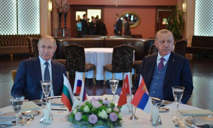 Turkish president Recep Tayyip Erdogan (R) and Russian president Vladimir Putin (L) during their meeting in Istanbul earlier today.