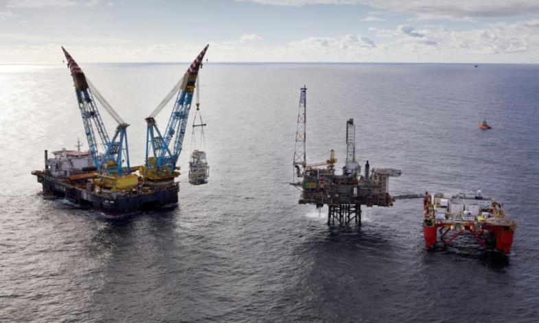 A handout image dated 03 June 2013 and made available 15 January 2015 by BP, showing a 700 tonne module lifted into position in the North Sea. This module will handle production tied-in from the nearby Kinnoull field and is one of three reservoirs that are being developed as part of the rejuvenation of the Andrew area oil filed.