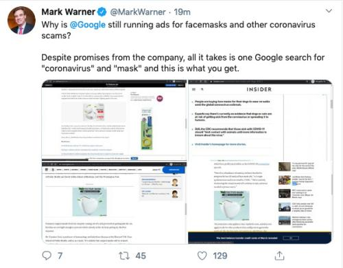 Mark Warmer tweets abut Google allegedly exploiting coronavirus fears.