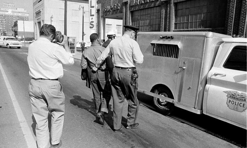 King being arrested in Birmingham, Alabama, in 1963.