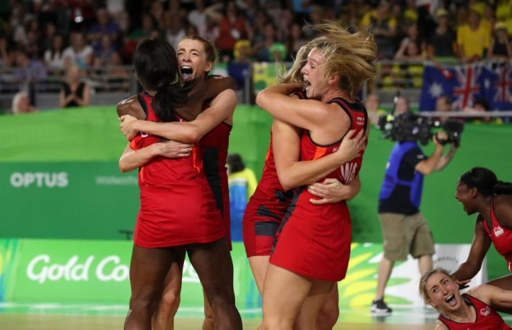 2018 Commonwealth Games - Day ElevenEngland players celebrate winning gold in the Women's Netball at the Coomera Indoor Sports Centre during day eleven of the 2018 Commonwealth Games.