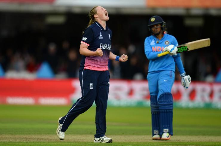 Shrubsole celebrates taking Krishnamurthy.