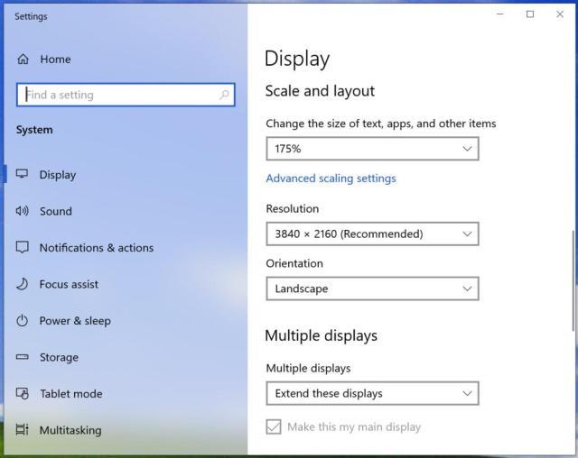 windows 10 display settings