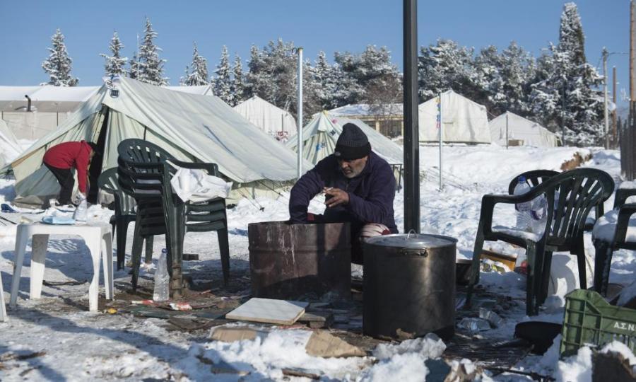 man in a camp