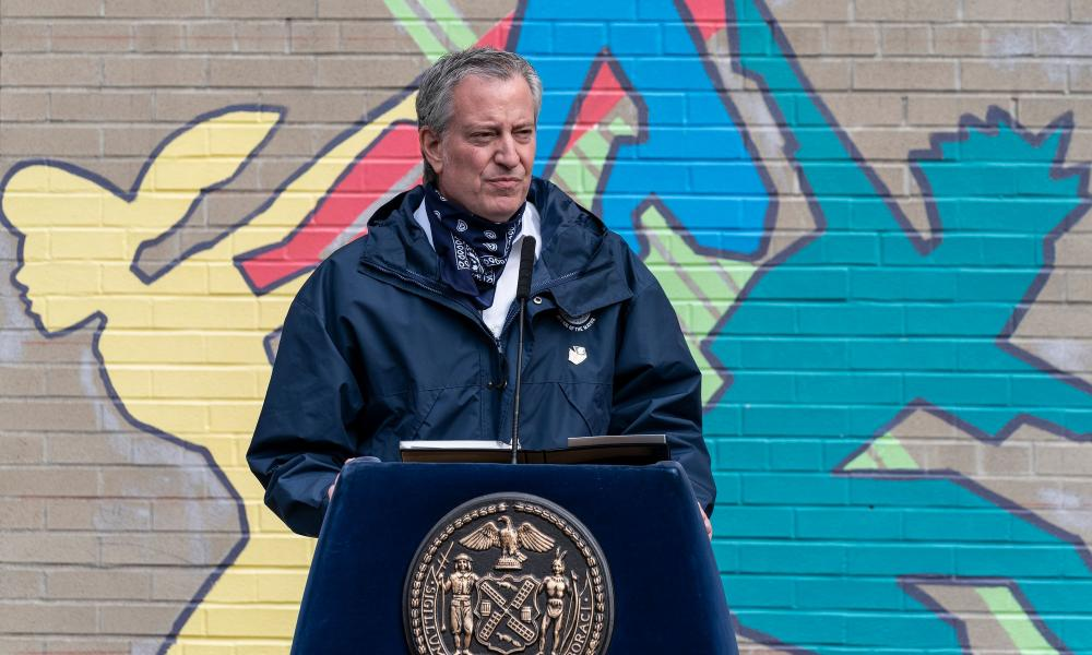 New York Mayor Bill de Blasio briefs media on the Covid-19 pandemic in the city at P.S. 1, New York, New York, United States, 7 Apr 2020.