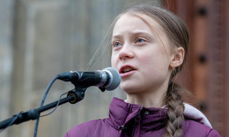Greta Thunberg speaks during the first anniversary Climate Strike, taking place during the Winter Youth Olympic Games in Lausanne, Switzerland on January 17, 2020. IOC President Thomas Bach has said climate impact may be considered when choosing future Host Cities.