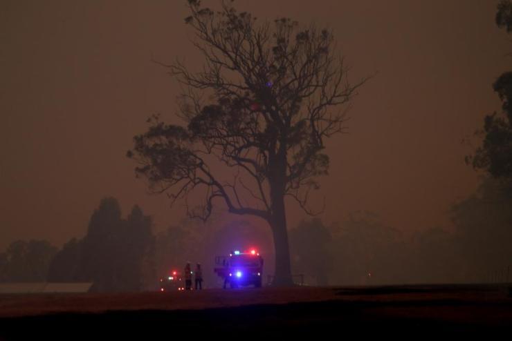 RFS crews fight a fire at the Green Wattle Creek fire near Bargo NSW