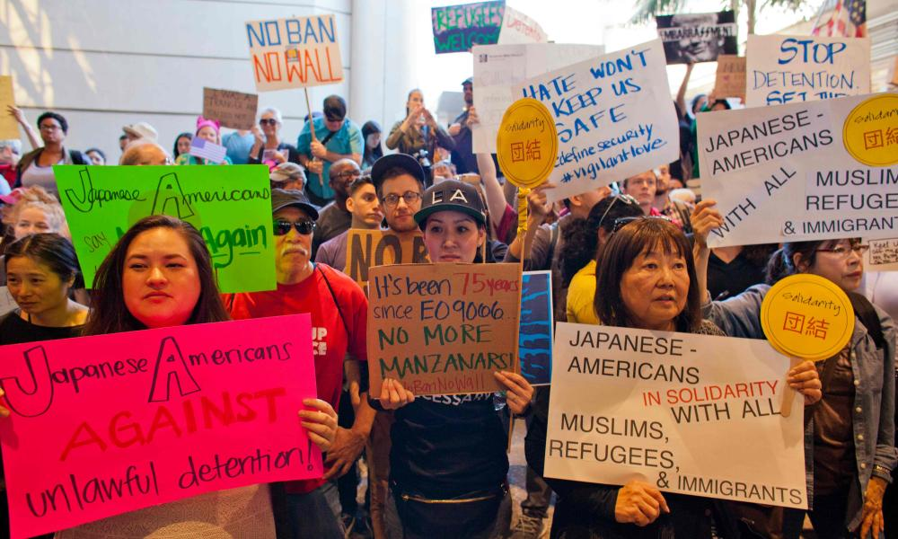 Protesters gathered at Los Angeles International airport.
