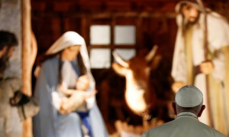 Pope Francis visits the nativity scene in Saint Peter's Square.