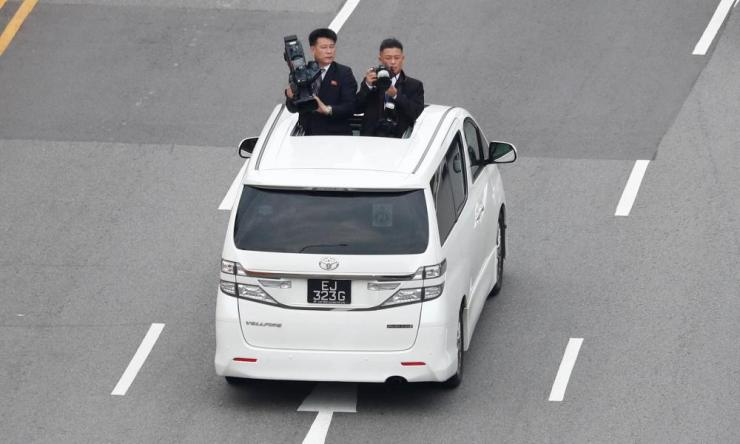 North Korean media travel with the motorcade