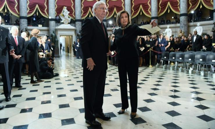 McConnell and Pelosi at a memorial ceremony for congressman Elijah Cummings in October.