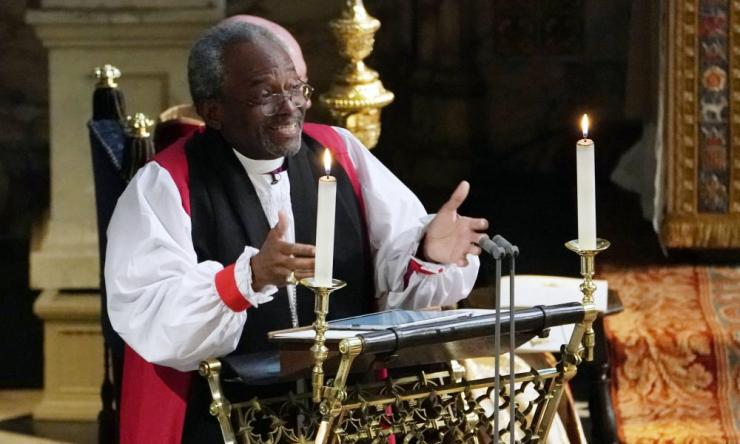 Bishop Michael Curry gives an address during the wedding of Prince Harry and Meghan Markle in St George's Chapel at Windsor Castle.