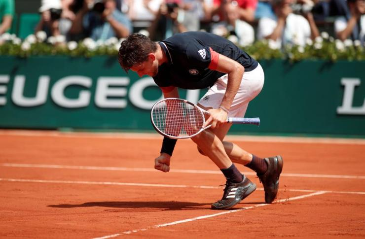 Dominic Thiem celebrates after winning the second set.