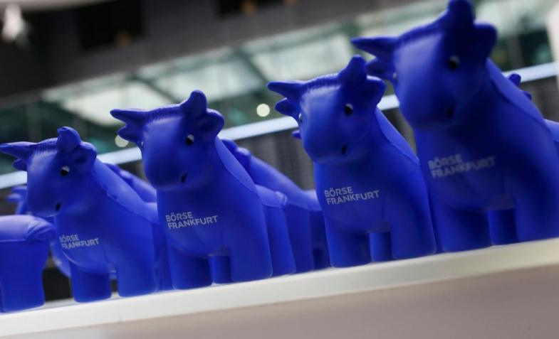 Styrofoam bull figurines are pictured at the Frankfurt's stock exchange, Germany, December 17, 2015. European shares surged on Thursday as investors took the U.S. Federal Reserve's interest rate rise and the prospect of further tightening as a sign of confidence in the world's biggest economy. REUTERS/Ralph Orlowski