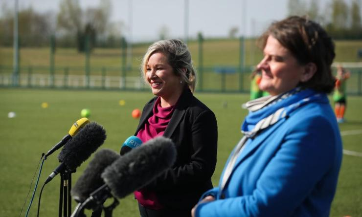 Michelle O'Neill (left) with Arlene Foster at a press conference earlier this month.