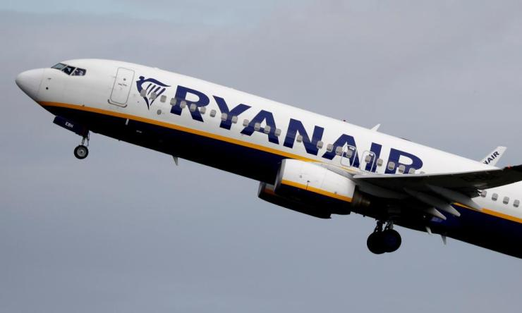 A Ryanair plane takes off from Manchester airport in June