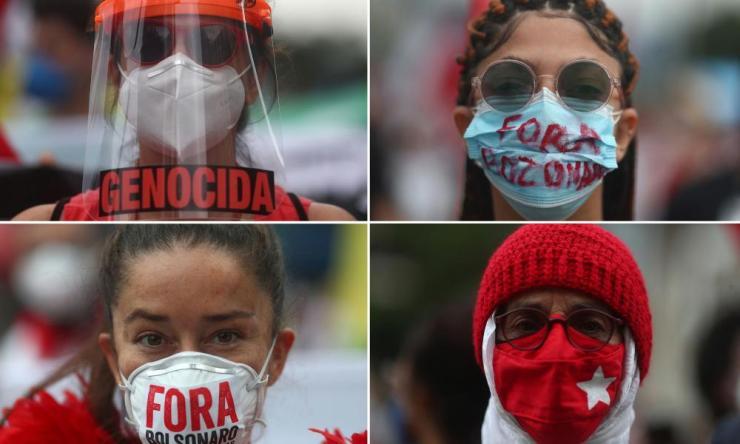 Protest against Brazil's President Jair Bolsonaro's administration in Rio de Janeiro.